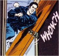 Man shoulder barging door